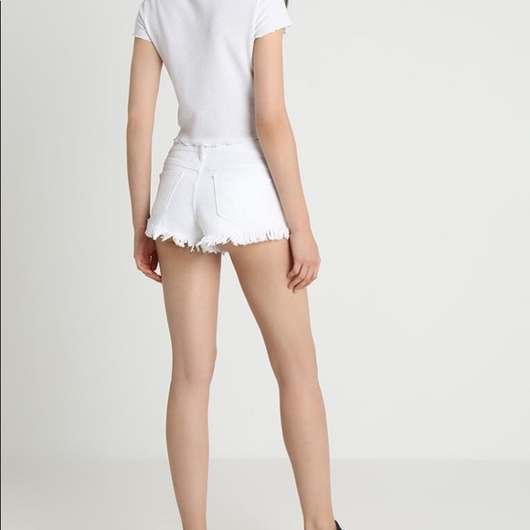 Hollister Pants - White denim shorts